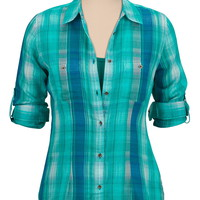 Chiffon back plaid button down shirt