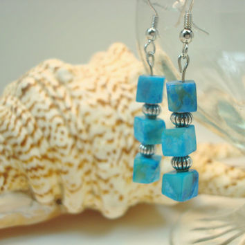 Teal Dangle Earrings, Hypoallergenic, Summer Jewelry, Beaded Earrings, Beach Jewelry, Turquoise Earrings, Handmade Earrings