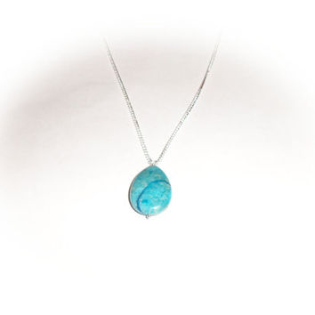 Turquoise blue agate stone sterling silver necklace