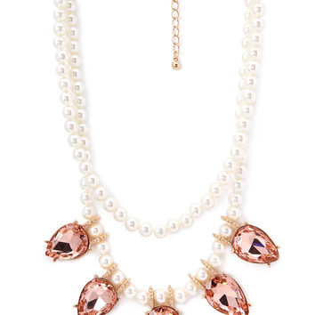 FOREVER 21 Faux Pearl Gemstone Necklace Peach/Cream One