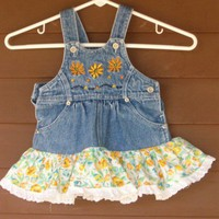 Upcycled Jean Jumper or Sundress with Yellow Flowers Size 12-18 mo.Toddler | maidinvt - Children's on ArtFire
