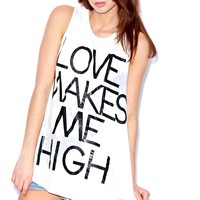Carrie 'Love Makes Me High' Chiffon Back Vest at boohoo.com