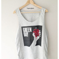 Green Day Band Rock Pop Punk Singlet T-Shirt Vest Unisex Man Women