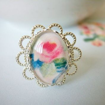 Pink Rose Glass Cabochon Silver Filigree Adjustable Ring Shabby Chic