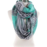 Gray Abstract Aztec Retro Pattern Print Infinity Scarf:Amazon:Clothing
