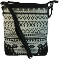 BHT Bling Aztec Print Cross Body Bag Messenger Handbag Hipster Purse Black:Amazon:Clothing