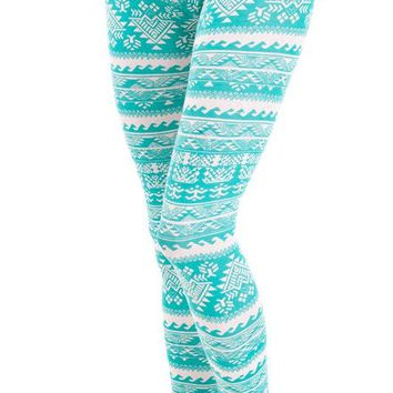 Jade White Ladies Tribal Print Elastic Band Leggings:Amazon:Clothing