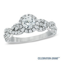Celebration Grand® 1 CT. T.W. Diamond Frame Twist Engagement Ring in 14K White Gold (I/I1)