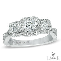 Vera Wang LOVE Collection 1 CT. T.W. Diamond Three Stone Twist Shank Engagement Ring in 14K White Gold