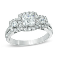 1 CT. T.W. Princess-Cut Quad Diamond Frame Three Stone Engagement Ring in 14K White Gold