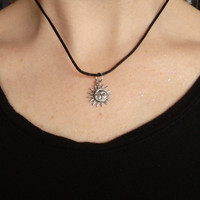90s grunge sun moon choker black cord necklace, alien, gender symbol, lotus, WTF, Zodiac charms
