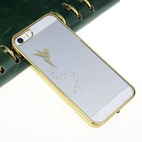 ZPS (TM) Transparent Hard Skin Case Cover For IPhone 5 5S (Gold)
