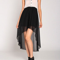 Contrast Sheer Chiffon Dress in White/Black