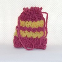 Striped Crochet Drawstring Bag Pink Yellow Small Gadgets Phones Snacks