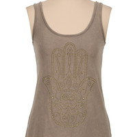 hand studded scoop neck tank
