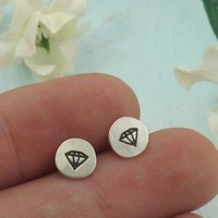 Diamond Earrings sterling silver studs by by KathrynRiechert