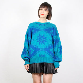 Vintage Teal Blue Sweater 1980s 80s Jumper Cosby Sweater Nordic Sweater New Wave Oversized Knit Pullover Jumper Bright Mod L XL Extra Large