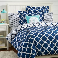 Lucky Clover Reversible Duvet Cover + Sham, Royal Navy