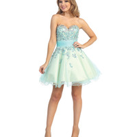 2014 Prom Dresses - Blue Sequined Tulle & Beaded Strapless Short Dress