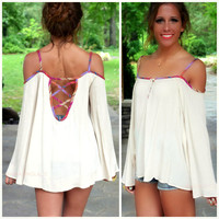 Fruit Twist Cream Open Shoulder Top