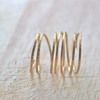 Modern Hammered Brass Stacking Ring Long Ring by ElishaMarie