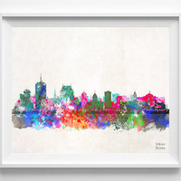 Quebec Skyline, Canada Print, Watercolor, Canadian Poster, Cityscape, City Painting, Illustration, Art Paint, Wall, Home Decor [NO 411]