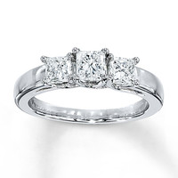Diamond Ring 1/2 ct tw Princess-cut 14K White Gold