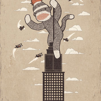 Sock Monkey Just Wants A Friend - Vintage Style Art Print by Ronan Lynam | Society6