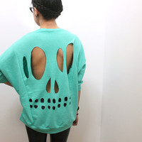 Mint Skull CutOut Sweatshirt M by lipglossandblack on Etsy