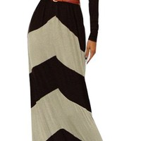 Chevron Color Blocked Long Sleeve Empire Waisted Maxi Dress