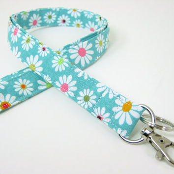 Fabric Lanyard - ID Badge and Key Ring - Aqua Daisies with Optional Breakaway Clasp