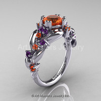 Nature Classic 14K White Gold 1.0 Ct Orange Sapphire Amethyst Leaf and Vine Engagement Ring R340-14KWGAMOS
