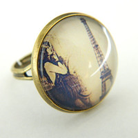 Glass Ring Paris Femme Fatale Eiffel Tower Retro by PushTheButtons