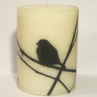 Bird Silhouette 4 Tall Print Pillar Candle by Retrospectshop