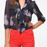 UrbanOutfitters.com &gt; Pins and Needles Chiffon Tie Neck Tunic