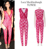 Lucy Mecklenburgh The Only Way Is Essex Pink Lace Jumpsuit Celebrity TOWIE 10 12 14