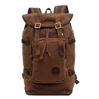 "Zlyc Men's Canvas Leather Hiking Travel Backpack Tote Bag Fit 15.6"" Laptop"