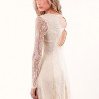 Off-white Cocktail Dress - Cream Lace Dress with Sheer | UsTrendy