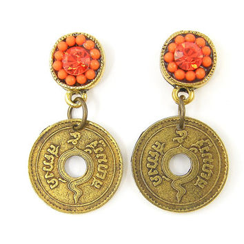 Dangle Orange Earrings with Rhinestone and Tribal Coin Boho Tribal Style Jewelry