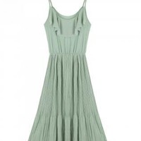 Green Day Dress - Floaty Pleated Chiffon Dress | UsTrendy
