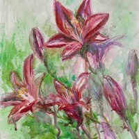 Red Lilies - Original artwork in water media