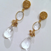 Long Crystal Drop Earrings, Gold Druzy Bezel Set, Pyrite Cluster Post Earrings. Luxury Fashion