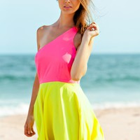 One Shoulder Neon Two Tone Party Dress