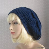 Navy Blue Slouchy Crochet Hat  Womens by ColorMyWorldCrochet