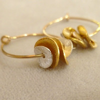 Small Gold Filled HoopsWith Ruffled Petals by fallingleafjewelry