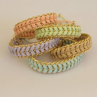 Pastel Sorbet - Handwoven Stacking Summer Bracelet In Mint Peach Beige Lavender Or Lime CHOOSE Your | Luulla