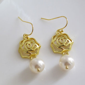 Lovely Rose Flower Modern Dangle Drop Earrings. 14k Gold Filled Earwire Light Cream White Swarovski Pearls Ear Accessory. Simple Gift