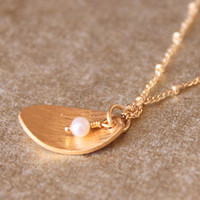 LEAF--Pearl And Gold Petal Charm Necklace | Luulla