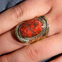 Tibet Solid Coral Ring - RINGS - ACCESSORIES - Shop Online