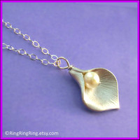 Genuine Pearl & White gold Calla Lily necklace by RingRingRing
